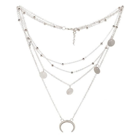 collier argent multi chaines