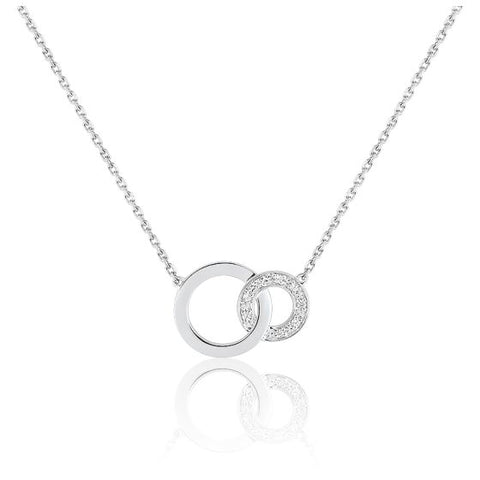 collier or blanc diamant cercle