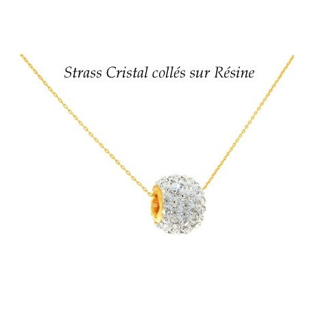 collier or boule strass