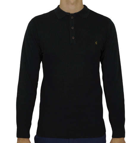 Gabicci Vintage Knitted Polo - Black