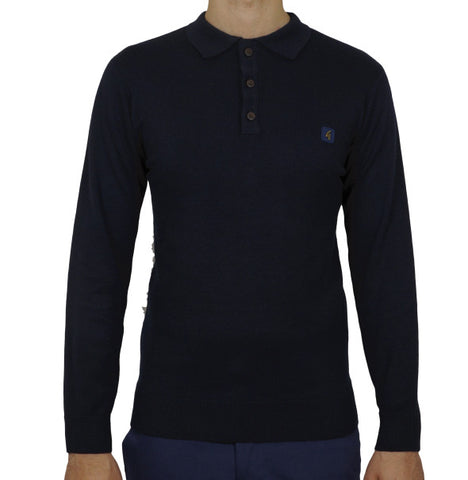 Gabicci Vintage Knitted Polo - Navy