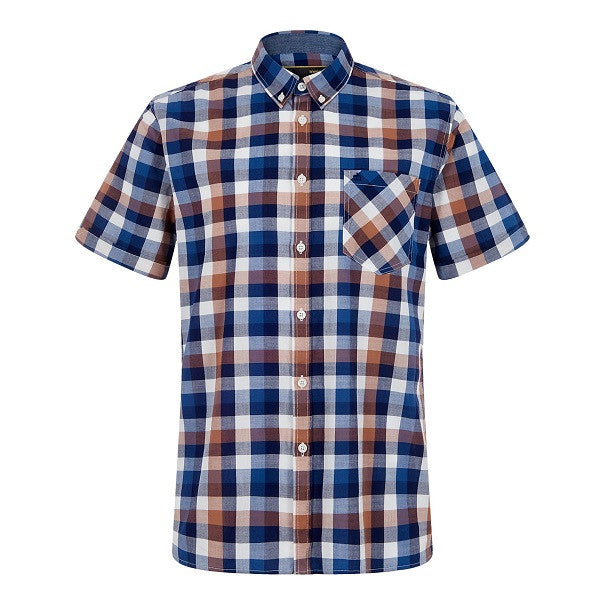 Merc Ashford Check Shirt - Brown - Merc - ModWear