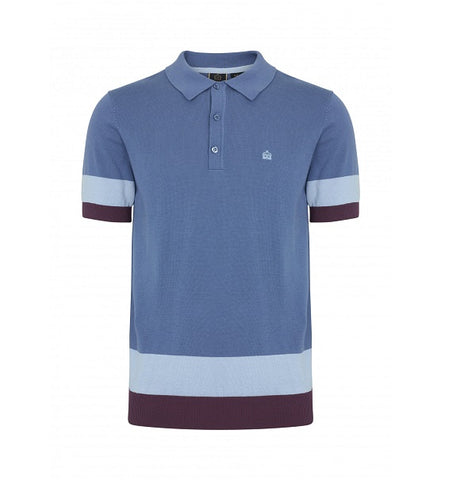 Merc Captain Knitted Polo - Blue