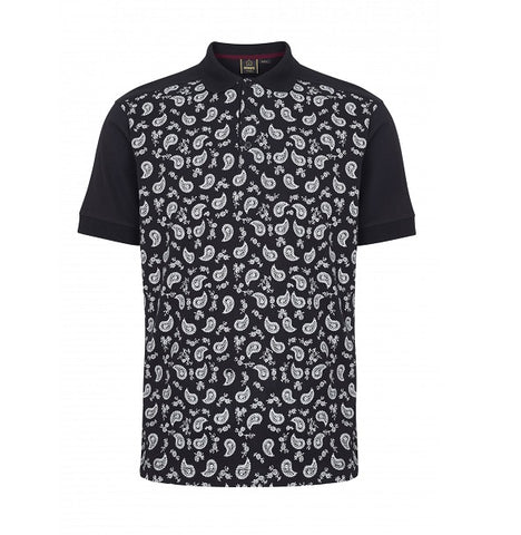 Merc Hunter Paisley Polo - Black