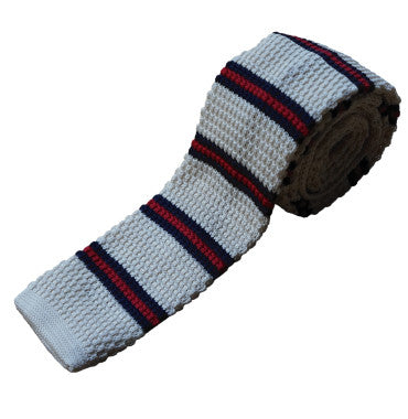 Sackville Style Knitted Tie - Off White