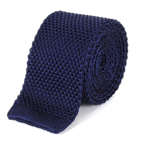 Tootal Silk Knitted Tie - Navy - Tootal - ModWear