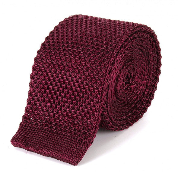 Tootal Silk Knitted Tie - Burgundy - Tootal - Mod Wear