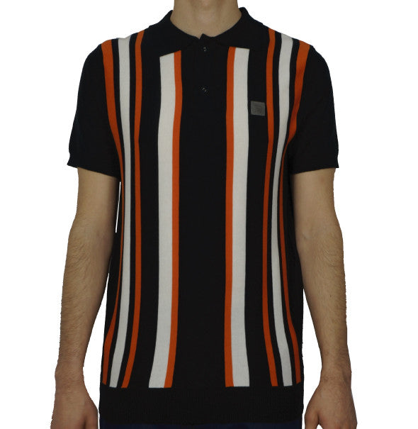 Trojan Striped Knitted Polo - Black - Trojan Records - ModWear