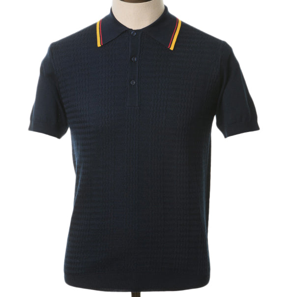 AGC Maurice Knitted Polo - Navy - Art Gallery Clothing - ModWear