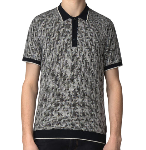 Ben Sherman Argyle Knit Polo - Navy