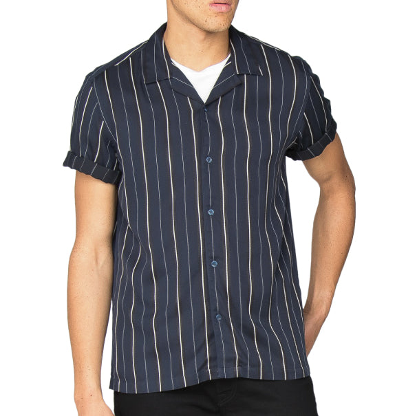 Ben Sherman Satin Stripe Shirt - Navy - Ben Sherman - ModWear