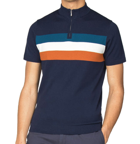 Ben Sherman Knitted Zip Polo - Navy