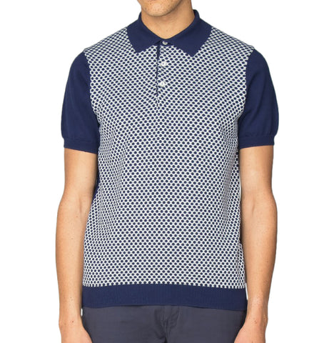 Ben Sherman Knitted Geo Polo - Navy