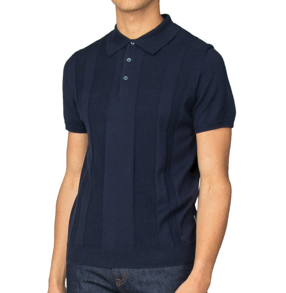 Ben Sherman Stripe Knit Polo - Navy - Ben Sherman - ModWear