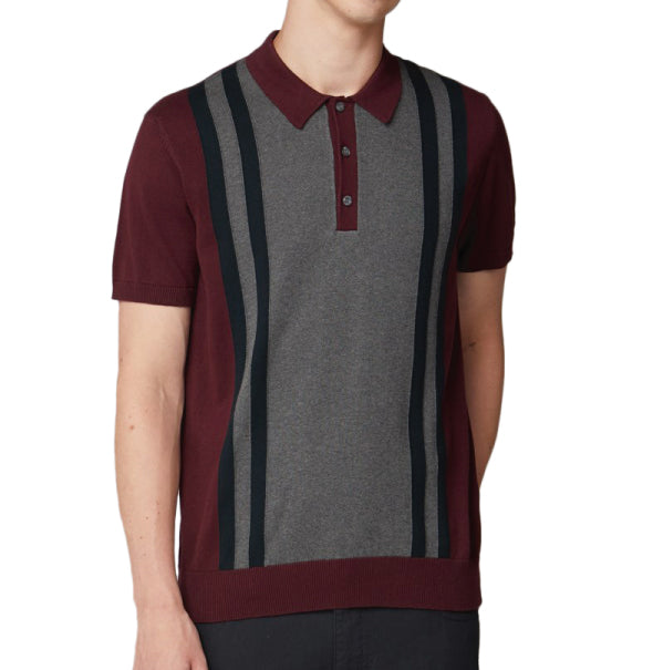 Ben Sherman Knitted Mod Polo - Wine - Ben Sherman - ModWear