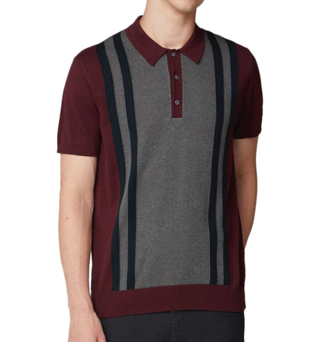 Ben Sherman Knitted Mod Polo - Wine