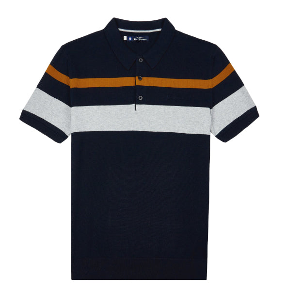 Ben Sherman Knitted Mod Polo - Navy - Ben Sherman - ModWear