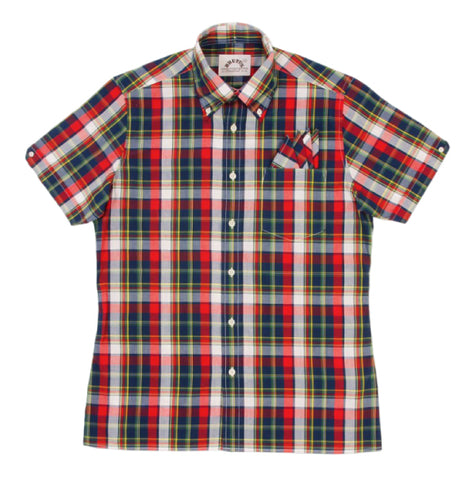 Brutus Trimfit Check Shirt  - Red Madras
