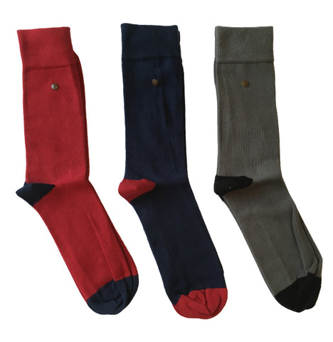 Gabicci Vintage Socks - Navy/Red/Grey