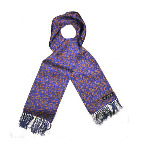 Knightsbridge Silk Scarf - Blue/Orange