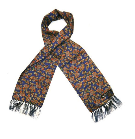 Knightsbridge Silk Scarf - Navy/Orange