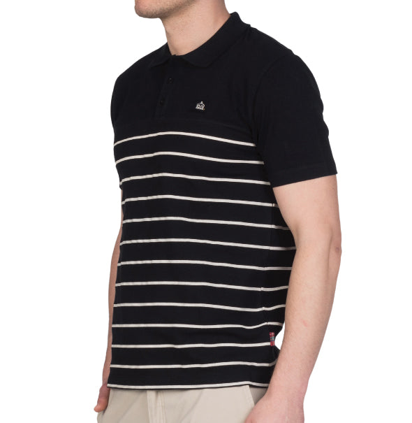 Merc Finsbury Strip Knit Polo - Black - Merc - ModWear
