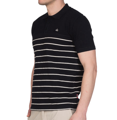 Merc Finsbury Strip Knit Polo - Black