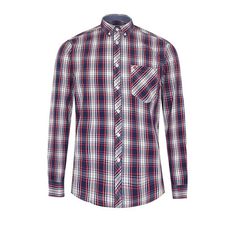 Merc Frank Check Shirt - Red/Blue