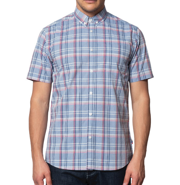 Merc Helmstal Check Shirt - Dust Blue - Merc - ModWear
