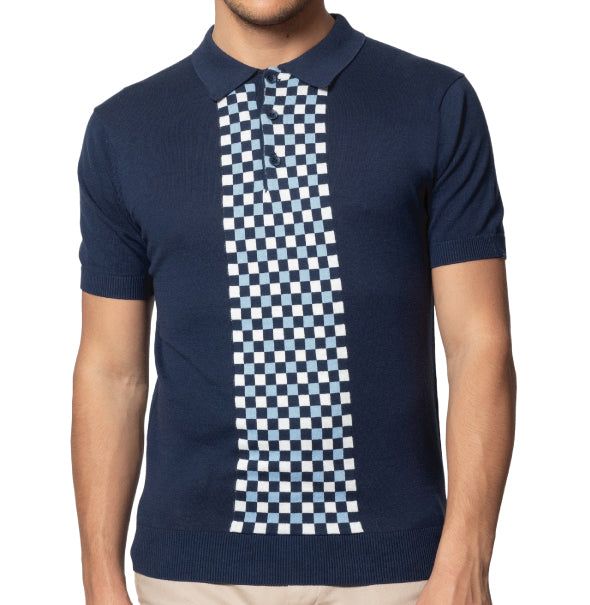 Merc Jarvis Knitted Polo - Navy - Merc - ModWear
