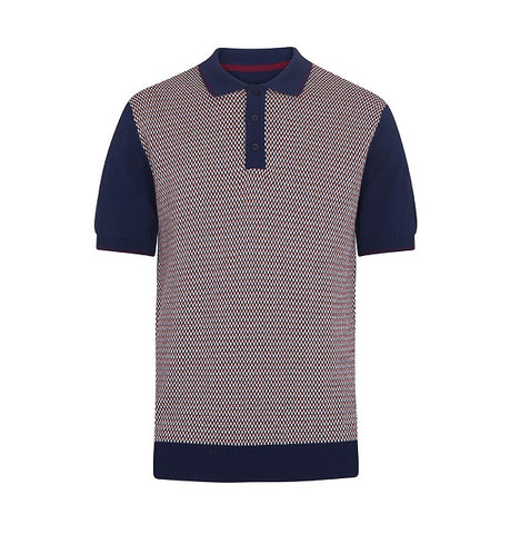Merc Maple Knitted Polo - Navy