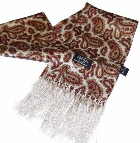Tootal Double Paisley Silk Scarf - Wine