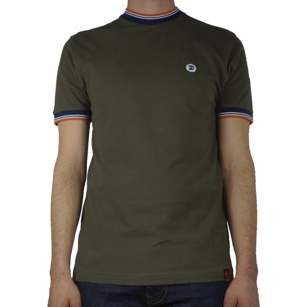 Trojan Twin Stripe T-Shirt - Olive - Trojan Records - ModWear