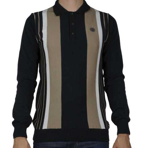 Trojan Striped Knitted Polo - Black