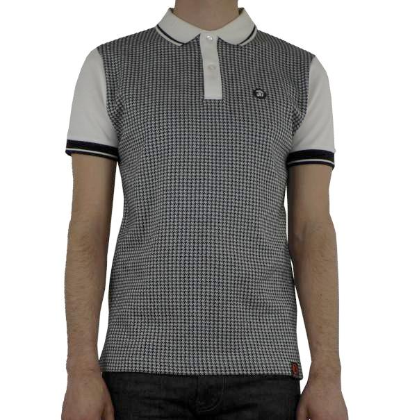 Trojan Houndstooth Knit Polo - White - Trojan Records - ModWear
