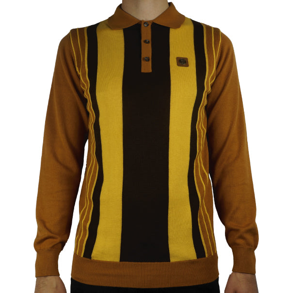 Trojan Striped Knitted Polo - Golden - Trojan Records - ModWear