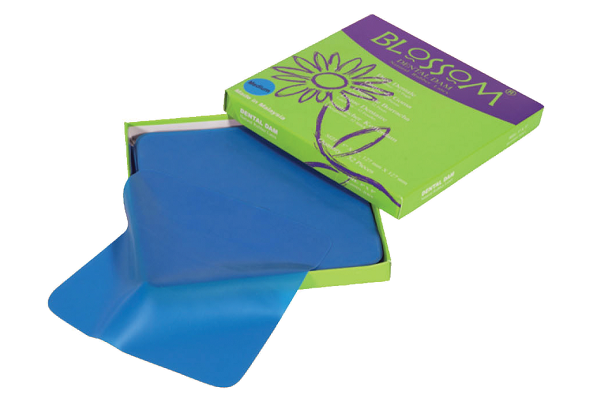 "Blossom 6"" x 6"" Medium Blue Dental Rubber Latex Dental Dam"