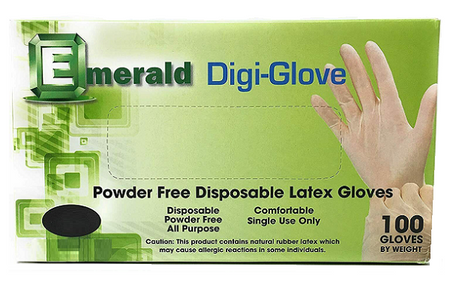 Emerald Digi-Glove Powder Free Latex Gloves 100/Box