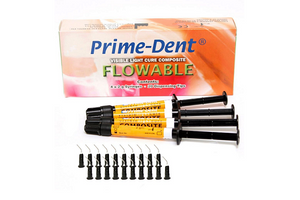 Prime-Dent Flowable Light Cure Dental Composite 4 Syringe Kit with 20 Tips - First Choice Dental Supplies