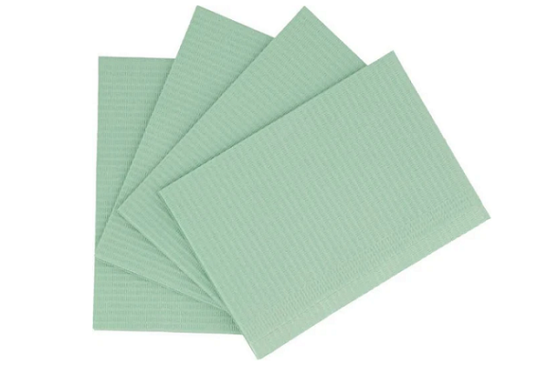 "House Brand Dental Patient Green Bibs 13"" x 18"" 2-Ply Paper/1-Ply Poly, Plain - First Choice Dental Supplies"
