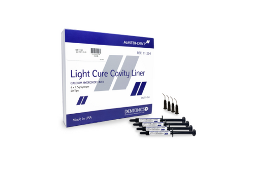 Master-Dent Light Cure Calcium Hydroxide Cavity Liner 4 Syringe Kit with 20 tips 11-254 - First Choice Dental Supplies