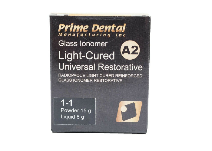 Prime-Dent Glass Ionomer Light Cured Universal Restorative Cement Kit - A2 Shade 000-185 - First Choice Dental Supplies