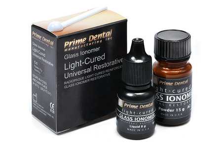 Prime-Dent Glass Ionomer Light Cured Universal Restorative Cement Kit - A2 Shade 000-185 - First Choice Dental Supplies 1