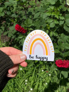 Be Happy Hydroflask Water Bottle Stickers