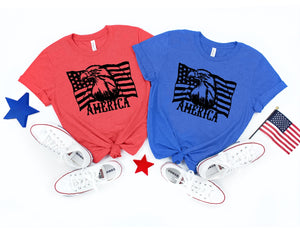 Eagle & Flag Patriotic T- Shirt - 4th of July - America