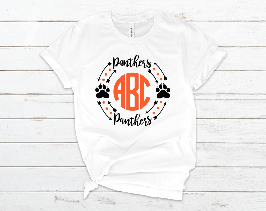 Panther Pride Monogram - High School - College T Shirt