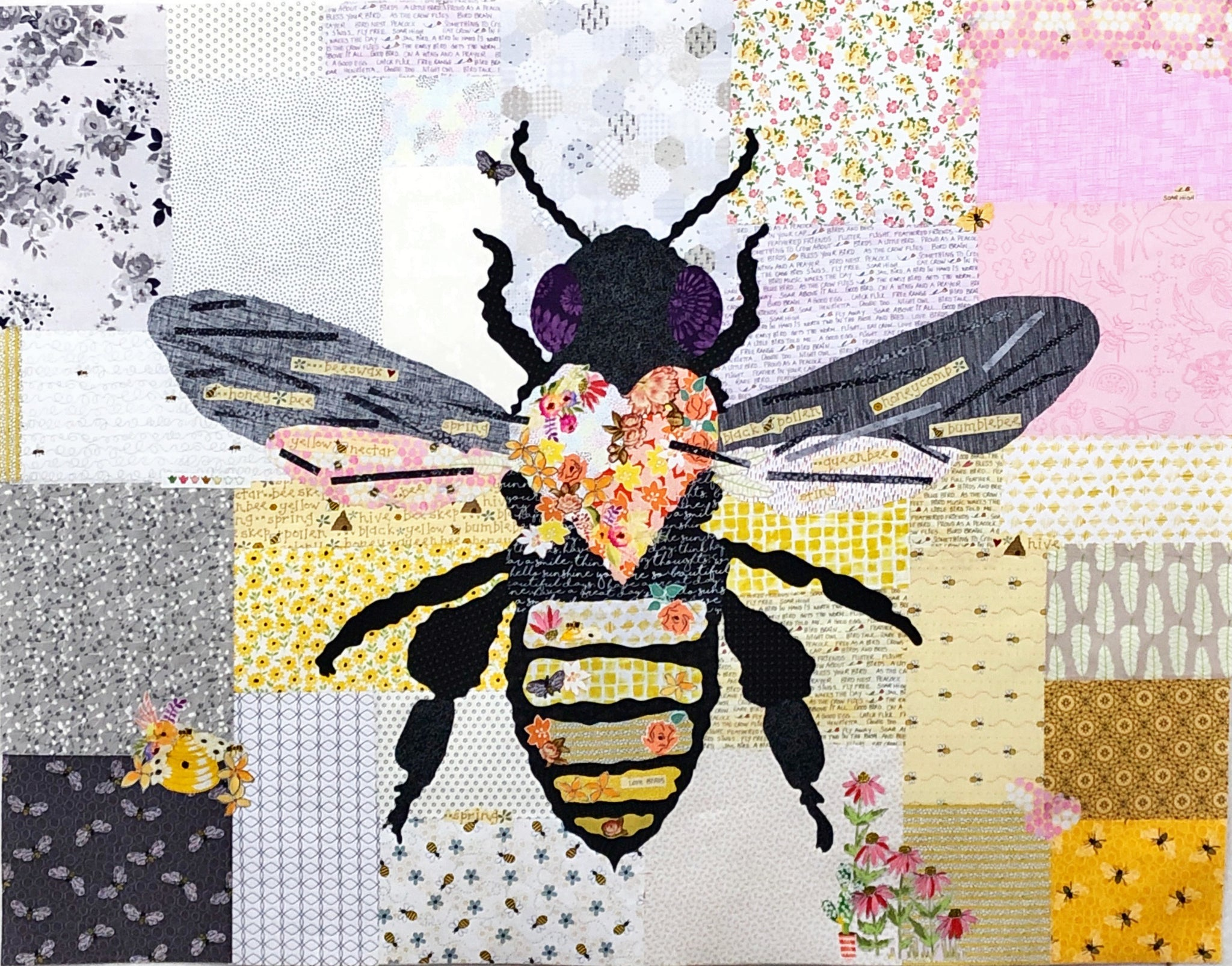 Honey Bee Collage Quilt Kit by Doris Rice