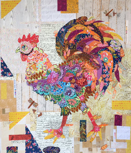 Doodle Doo Rooster Collage Pattern by Laura Heine