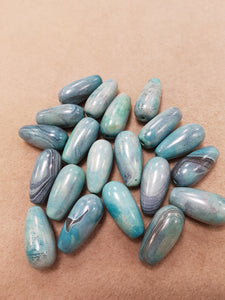 Agate dZi Drop Bead Lt Sky Blue