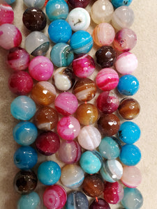 Agate Round Faceted Mixed